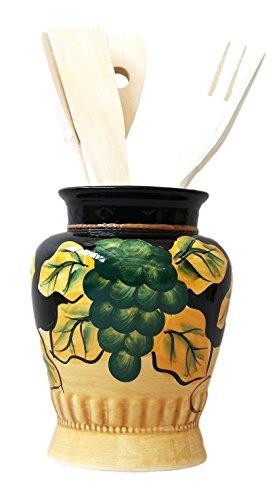 Winter Fruit Kitchen Utensil Holder Tuscany Black Decor14H 85938 by ACK