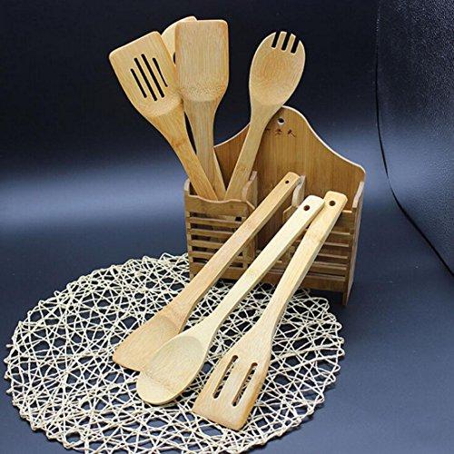 Saingace Hot 5 Piece Set Bamboo Utensil Kitchen Wooden Cooking Tools Spoon Spatula Mixing