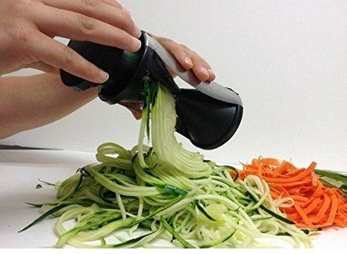 Spiral Slicer Cutter Bundle Vegetable Fruit Spiralizer Stainless Steel Blade for Pasta Noodle Spaghetti Maker with Metal Finger Guard Home Kitchen Gadgets
