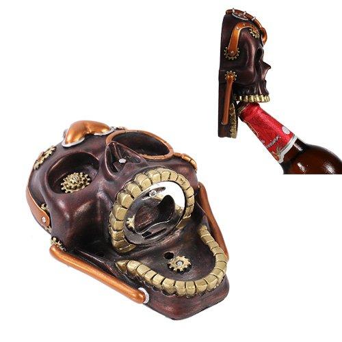 Steampunk Gearwork Shrieking Skull Wall Bottle Opener Home Kitchen Gadget