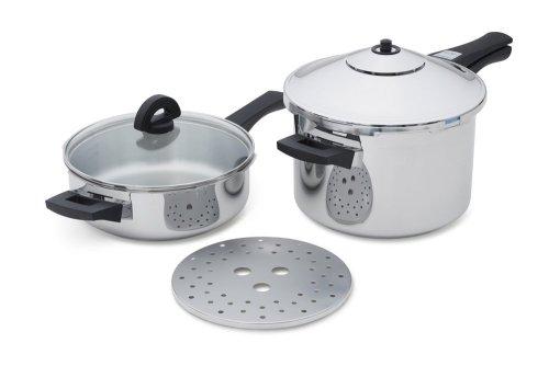 Kuhn Rikon Duromatic Stainless-Steel Pressure Cooker 2pc Set 2Qt Fry Pan 5-Qt Saucepan