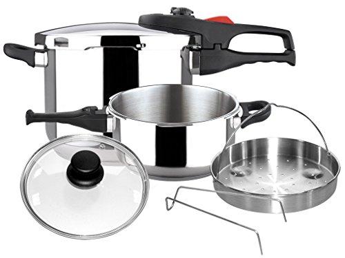 Magefesa 01OPPRAPL47 6-Piece Practika Plus Stainless Steel Pressure Cooker Set 4 and 6-Quart Silver