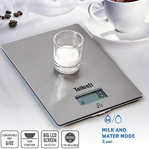 Tatkraft Hi-tech Digital Kitchen Food Scales 5Kg11Lbs Wall Hangable Stainless Steel