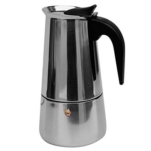 Katoot 200ml 4 Cups Stainless Steel Moka Espresso Percolator Stove Top Coffee Maker Pot Coffeepot - Silver  Black