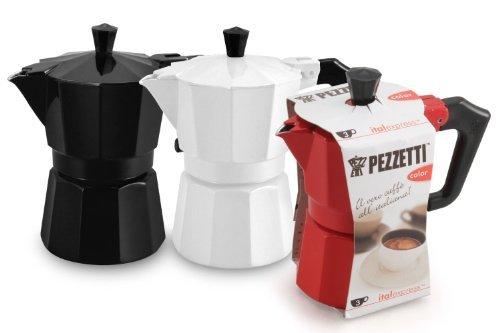 Pezzetti Stove-Top Espresso Coffee Maker Moka Pot - 36 Cup - BlackWhiteRed 6 Cup Red