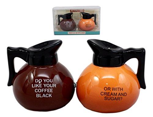 Ebros Breakfast Black Or Cream Coffee Pots Salt Pepper Shakers Ceramic Magnetic Figurine Set 325H