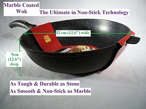 Ceramic Marble Coated Cast Aluminium Non Stick Wok 32 Cm