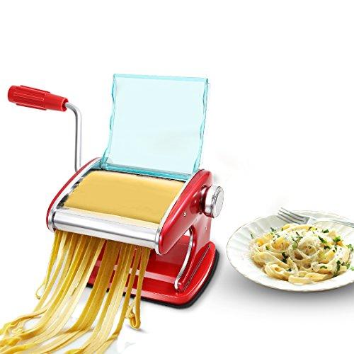 Homdox Pasta Roller Stainless Steel Pasta Make Machine with 2 Blades Red Pasta Maker