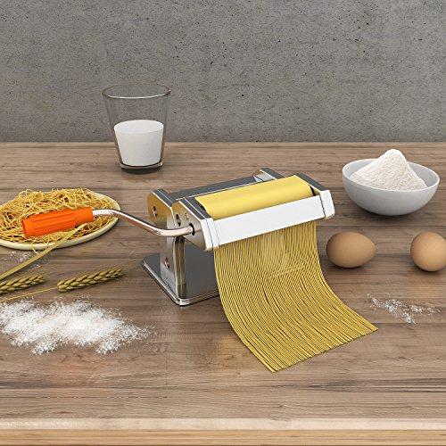 Noeler Pasta Crank Stainless Steel Pasta Roller Machine Kitchenaid Pasta Cutters with 2 Blades Attachments