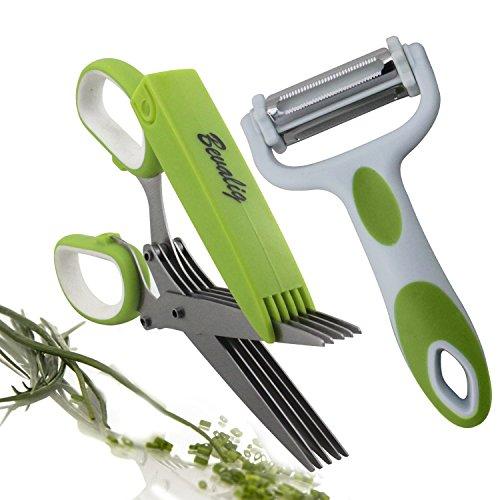 Herb Scissors With Multipurpose Peeler - Julienne Vegetable Fruit - Premium Cooking Gadgets - 5 Blades Stainless