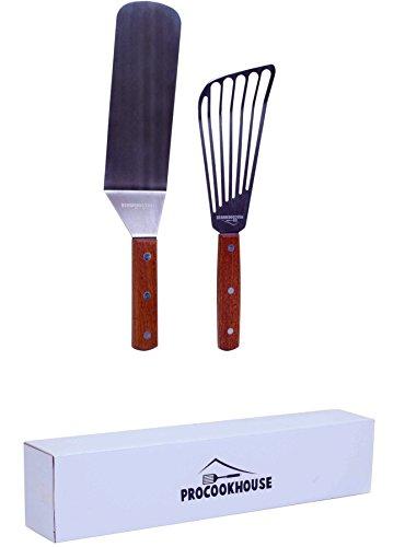 Spatula Set Fish turner spatula and Burger turner spatulaFlipper kit Stainless Steel and wood handle