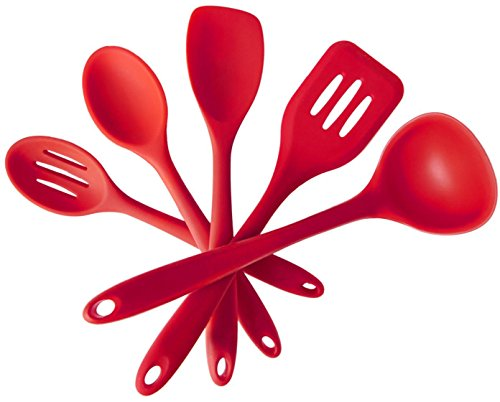 Igoolee Silicone Kitchen Utensil Set Heat-Resistant Non-Stick Cooking Baking Utensils with Solid Coating Spatulas Set of 5 Piece