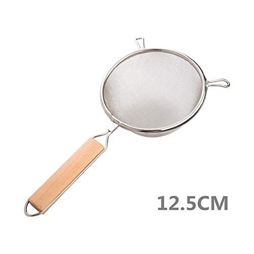 tianxiangjiaju Stainless Steel Mesh Colander Wood Handle Filter Rust-proof Kitchen Cooking Tools Silver 125cm