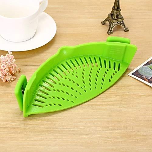 BIRD WORKS Silicone Pot Filter Kitchen Clip Pot Filter Drain Excess Liquid Drain Pasta Vegetable Cookware Kitchen Tools Green