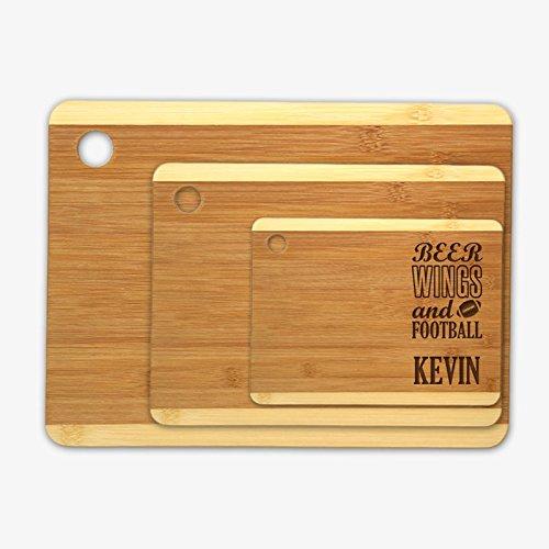 Beer Wings Football Custom Wood Cutting Board 3 Piece Set