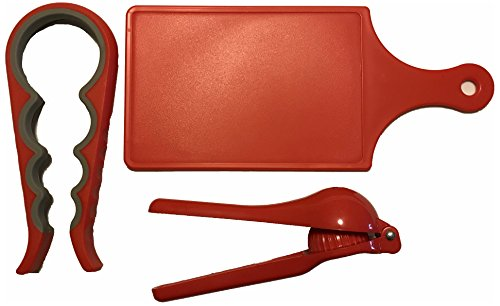 3-pc Kitchen Tools Set Mini Cutting Board Multi-Size Silicone Jar Opener Bottle Opener Hand Held Juicer Squeezer Bundle