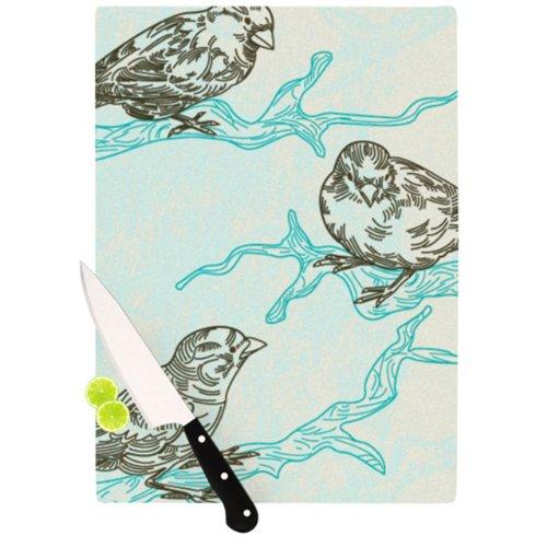 Kess InHouse Sam Posnick Cutting Board 115 by 1575-Inch Birds in Trees