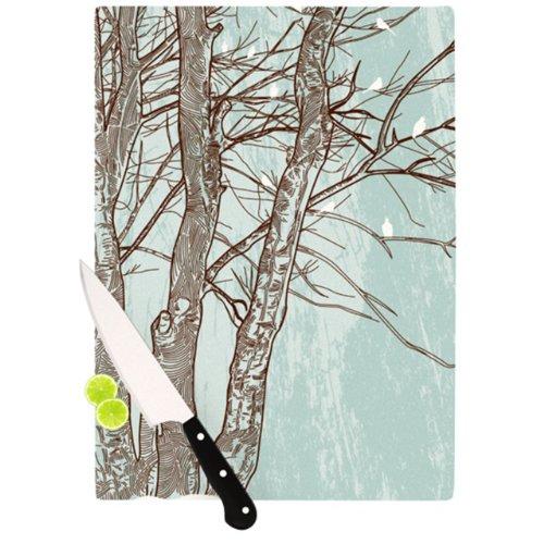 Kess InHouse Sam Posnick Cutting Board 115 by 825-Inch Winter Trees
