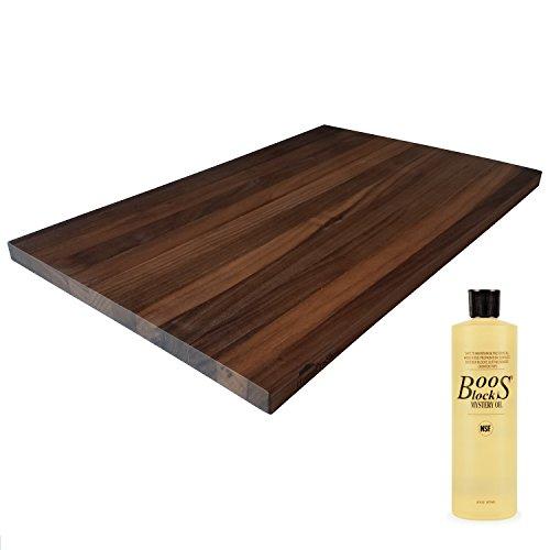 HomeProShops Wood Butcher Block Cutting Board - 34 x 12 x 19 - w John Boos MYSB Mystery Oil 16 oz Bottle Included - Solid Walnut Reversible