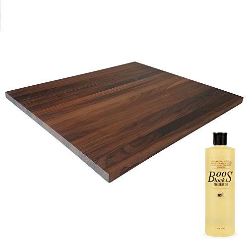 HomeProShops Wood Butcher Block Cutting Board - 34 x 18 x 21 - w John Boos MYSB Mystery Oil 16 oz Bottle Included - Solid Walnut Reversible