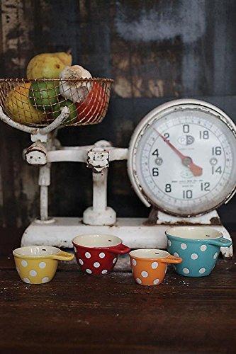 Polka Dot Ceramic Measuring Cups Set of 4