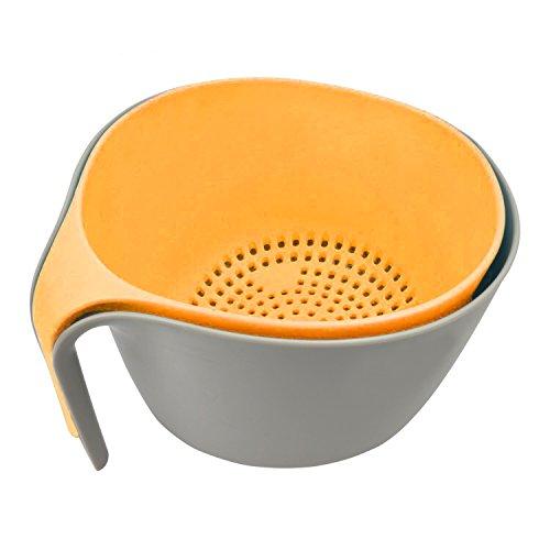 MiHerom 2-in-1 Large Nest Washing Colander Bowl Sets Food Strainers with Long Good Grips for Washing Fruits Vegetable Beans Pasta-Non-Slip BaseDishwasher-SafeBPA Free 45 Quart