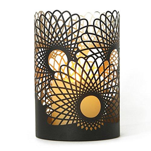 Deco De Ville Contemporary Modern Style Design Flower Shape Pattern Metal Tealight Jar Candle Holder Sleeve