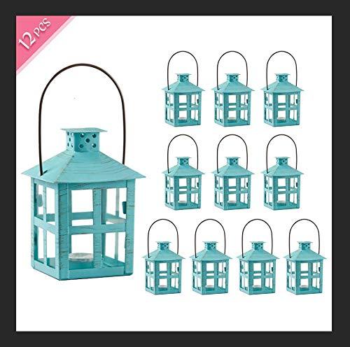 Kate Aspen Mini Decorative LanternVintage Metal Tealight Candle Lanterns Centerpiece for Wedding Table Accent Piece Party Favor Turquoise - 12 SetsSmall