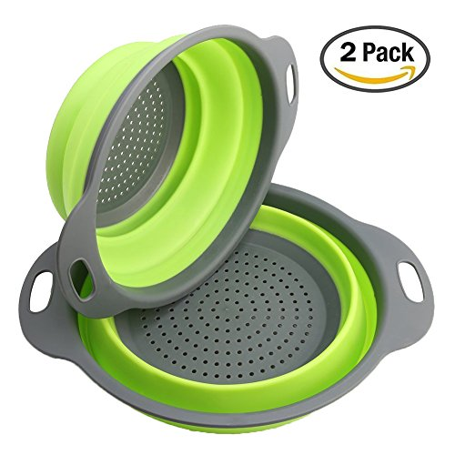 2pcs Collapsible Silicone Colander Strainer Filter Fruit Basket FDA Approved for Home Kitchen Sets by Awkli Green
