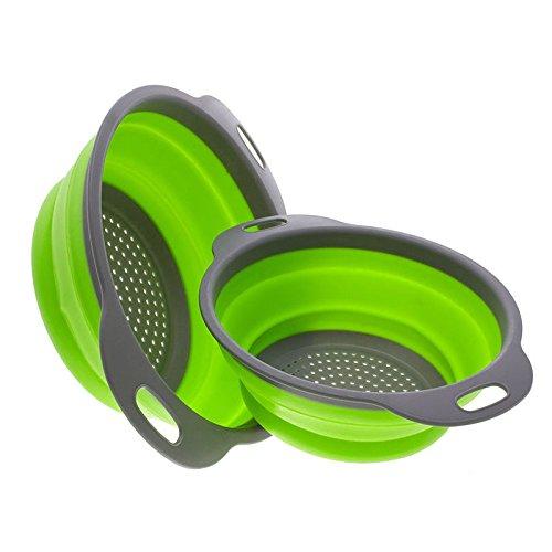 2pcs Kitchen Collapsible Silicone ColanderStrainer Folding Filter Basket