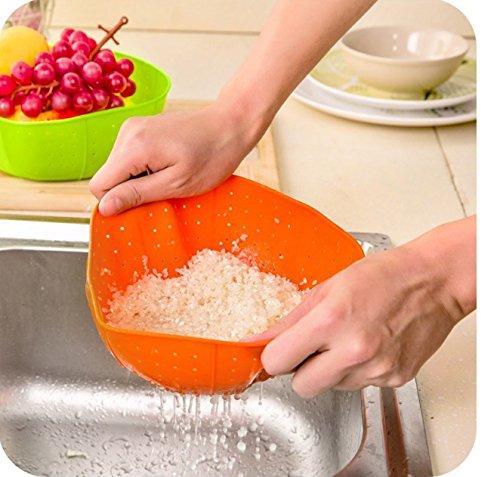 Kitchen Multi-functional silicone Colander Strainer Sink Basket Cooking Water Drainage