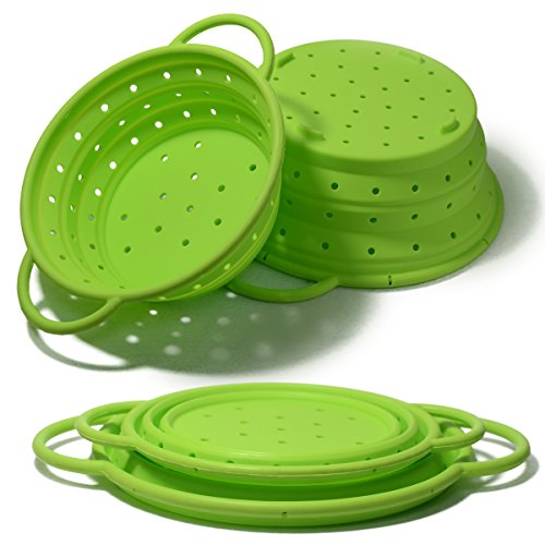 Yzakka Collapsible Colander Set 2pcs Footed Silicone Colander with Handle for Pasta Fruit Vegtable Includes 2 Folding Strainer - Large Colander 19L and Small Colander 095L