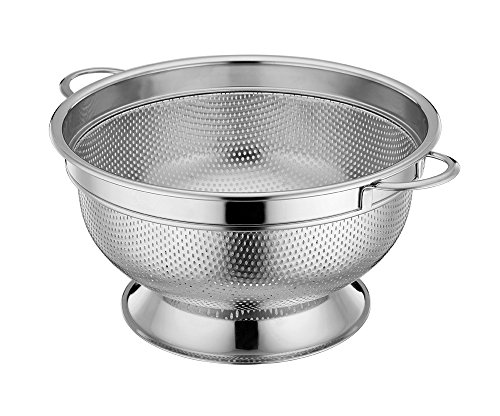 LIANYU Stainless Steel Colander Micro-perforated 5-Quart Colander Strainer with Handles and Stand Durable and Rust Free - Dishwasher Safe