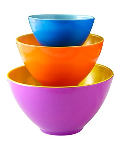 Melamine Mixing Bowls - Set of 3 - Mix Prep Store Foods with Ease - Two-Tone Nesting Design for Easy Storage - Colorful Fun