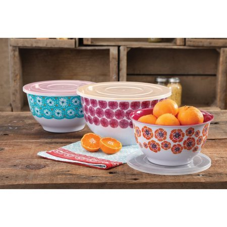 The Pioneer Woman Happiness Melamine Mixing Bowl Sets with Lids - Set of 3