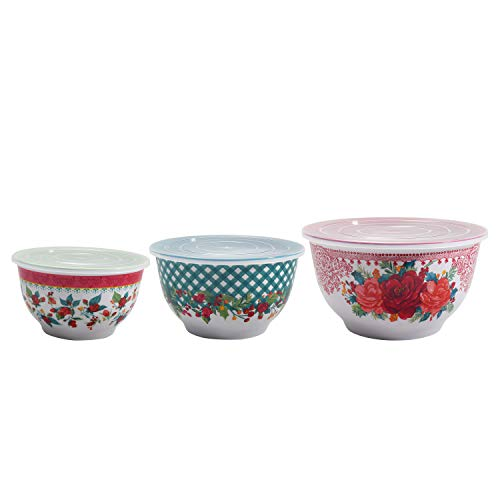 The Pioneer Woman Melamine Mixing Bowl Sets with Lids Cheerful Rose