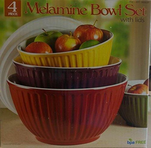 Melamine Bowl Set With Lids 4 Bowls