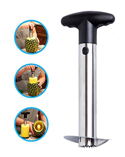 Stainless Steel Pineapple Corer Cutter Slicer Wedger Dicer Peeler Fruit Tool - cut pineapple quick and easy without a knife - includes One Year Warranty and a free pineapple recipe eBook