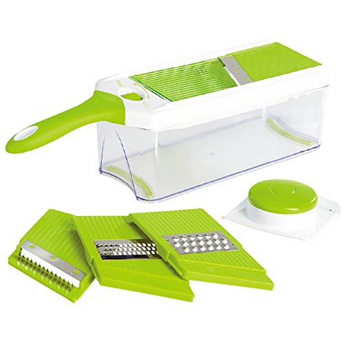 Pro Quality Mandoline Slicer With Storage Container And Hand Guard, Green