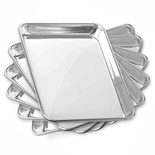 Gridmann 9 x 13 Commercial Grade Aluminium Cookie Sheet Baking Tray Jelly Roll Pan Quarter Sheet - 6 Pans