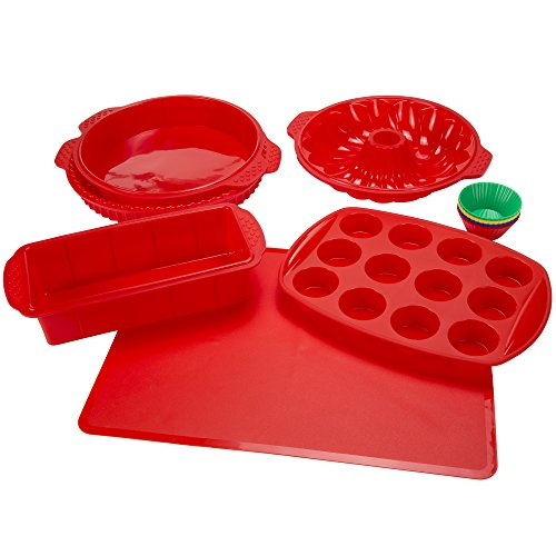 Silicone Bakeware Set 18-Piece Set including Cupcake Molds Muffin Pan Bread Pan Cookie Sheet Bundt Pan Baking Supplies by Classic Cuisine