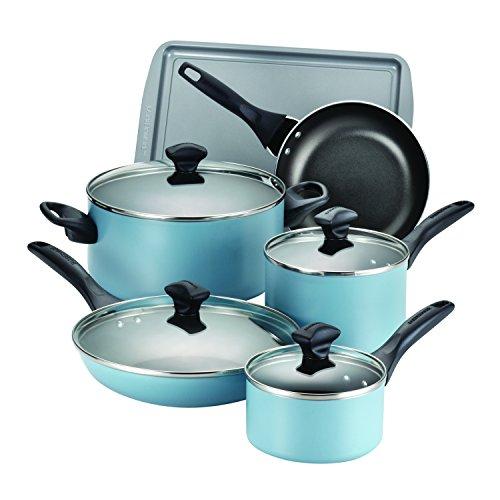 Farberware 15 Piece Dishwasher Safe Nonstick Cookware Set Aqua