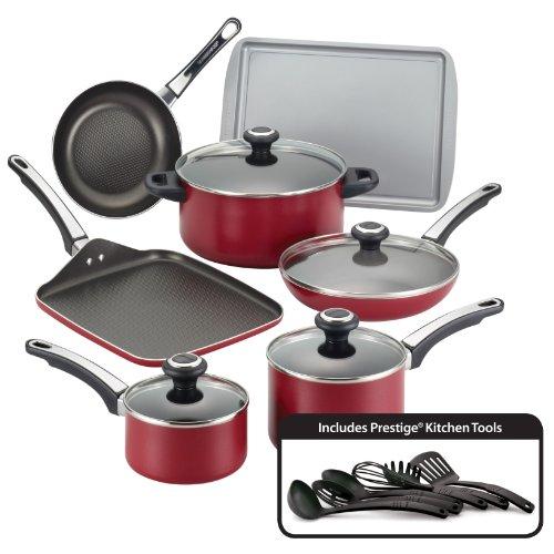 Farberware High Performance Nonstick Aluminum 17-Piece Cookware Set Red