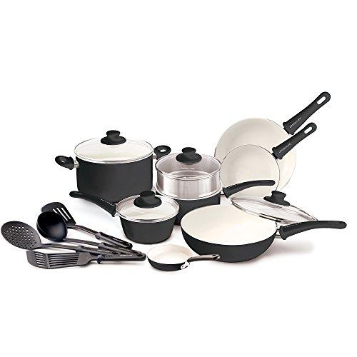 GreenLife Soft Grip 16pc Ceramic Non-Stick Cookware Set Black