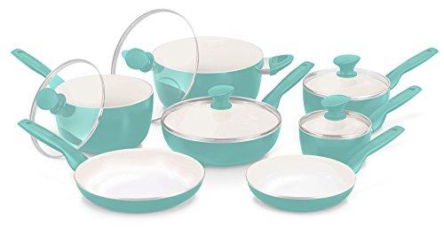 GreenPan Rio 12pc Ceramic Non-Stick Cookware Set Turquoise