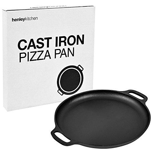 Henley Kitchen - Pre-Seasoned Cast Iron Pizza Pan - 14 inch - Classic Cast Iron Pizza Stone