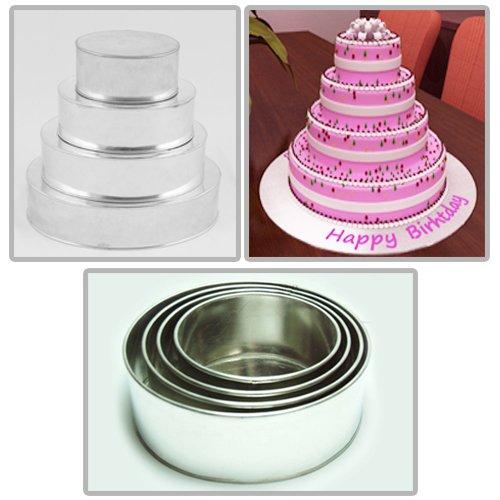 Round Multilayer Wedding Birthday Cake Baking Pan Set of 4 Cake Pans 4 Deep