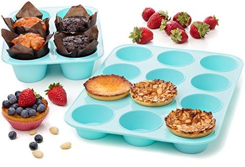 Silicone Muffin Cupcake Baking Pan Set Big Jumbo 6 12 Standard Cup Sizes - Non Stick Bakeware Tins