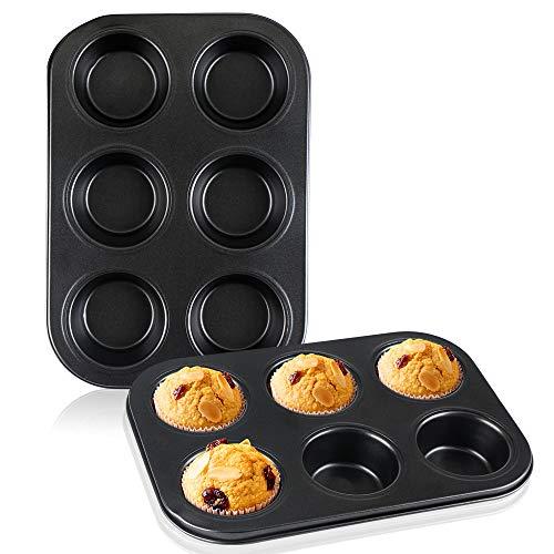 Muffin Pan 2pcs Beasea 6 Cavity Non Stick Muffin Baking Pan Set of 2 Carbon Steel Muffin Pan Set Cupcake Baking Pan