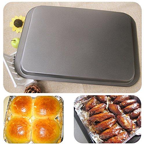 Simonshop 14 Inch Non-stick Cookie Pan Carbon Steel Bakeware Bread Cheese Bake Roasting Pan black